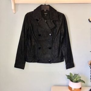 NWOT Talbots Double Breasted Black Denim Jacket
